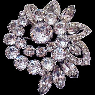 Signed Eisenberg Pre 1955 Vintage Crystal Rhinestone Brooch AMAZING