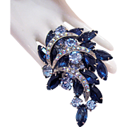 Magnificent Vintage Blue Sapphire Rhinestone Multi Tiered Silver Brooch