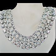 Spectacular Vintage Gazillion Crystal Rhinestone Chain Bib Collar Necklace 1980s