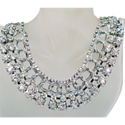 Spectacular Vintage Gazillion Crystal Rhinestone Chain Bib Collar Necklace 1980s
