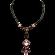 Signed Van Galz Swarovski Vintage Amethyst Rhinestone Lavaliere Leather Necklace