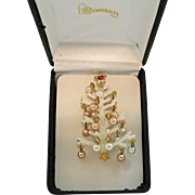 Signed Roman Sparkling Vintage Faux Pearl Dangle Christmas Tree Brooch Sugar Coated Metal Original Box