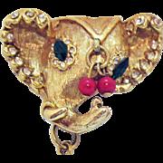 Rare Unsigned Hattie Carnegie Vintage Rhinestone Elephant Chain Brooch