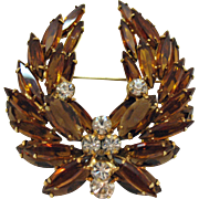 Vintage Juliana D & E DeLizza and Elster Spectacular Tiered Rhinestone Laurel Leaf Brooch