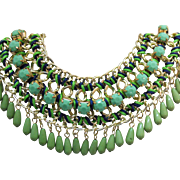 Vintage Egyptian Revival Collar Necklace Faceted Green Glass Tear Drop Stones