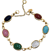 Signed Judy lee Vintage Glass Scarab Bracelet