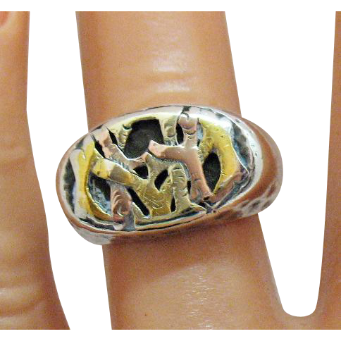 Very Old Sterling Silver 14K Yellow and Rose Gold Vintage Hand Crafted Abstract Ring