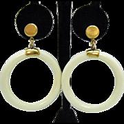 Signed Crown Trifari Vintage Large Hoop Clip Yellow Gold Plated Metal Earrings
