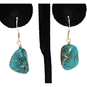 Gorgeous Sterling Silver Vintage Untreated Turquoise Nugget Pierced Earrings