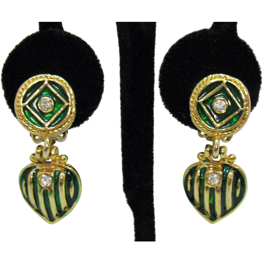 Vintage Green Enamel Gold Metal Heart Dangle Rhinestone Clip Earrings