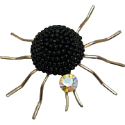 Awesome Vintage Black Glass Beaded Rhinestone Golden Figural Spider Brooch