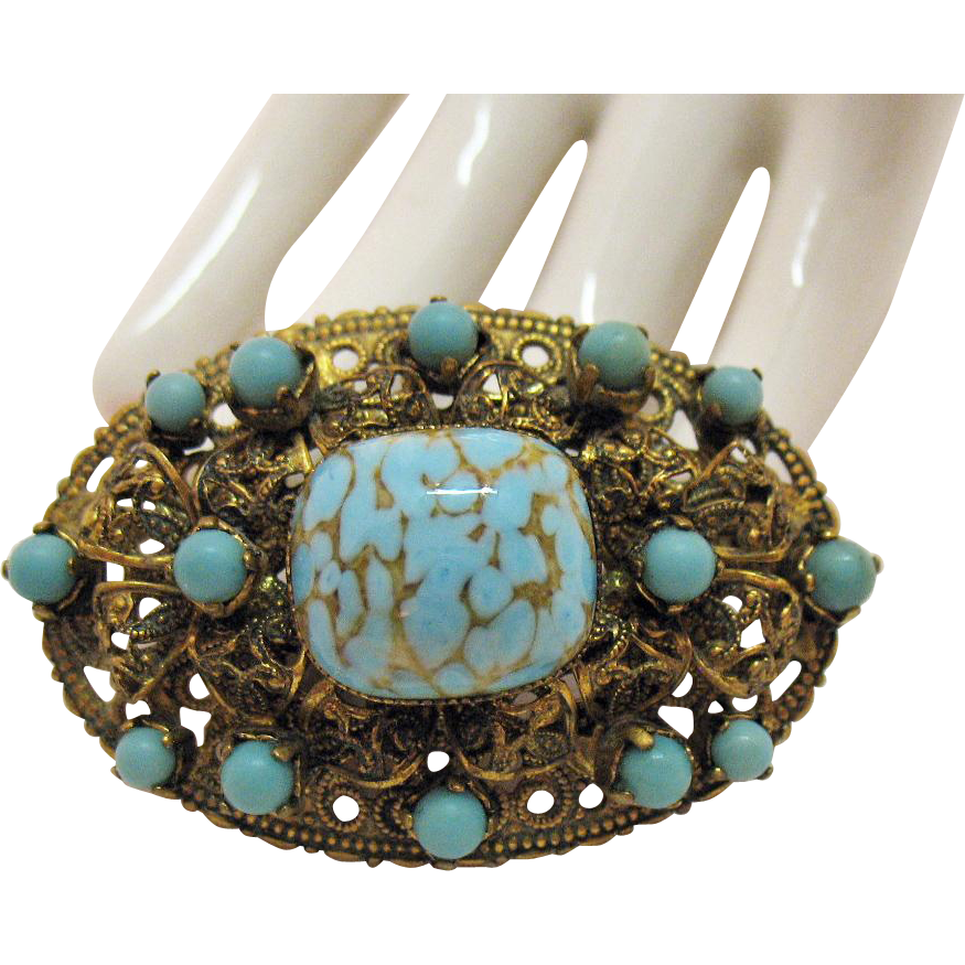Signed Made in Germany West Vintage Brass Filigree Art Glass Brooch Turquoise Colored Stones
