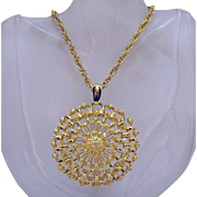 Big Bold Over-the-Top Vintage Golden Medallion Pendant Necklace