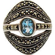 Stunning Signed A Thailand Sterling Silver 925 Vintage Marcasite Blue Topaz Ring