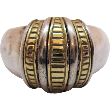Signed SLV Sadye L Vadssil Vintage Modernist 14K Sterling Silver Dome Band Ring