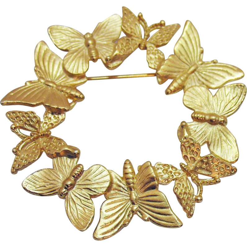 Hard to Find Signed Craft Vintage Large Figural Butterfly Eternity Brooch