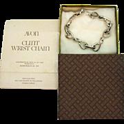 Signed Avon 1976 Clint Wrist Chain Vintage Silver Bracelet Original Box Sleeve