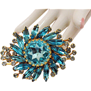 Signed Judy Lee Magnificent Vintage London Blue Topaz Colored Rhinestone Brooch