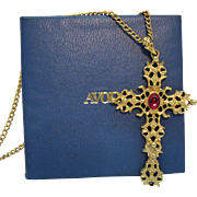 Signed Avon Vintage 1970s Golden Heavy Glass Ruby Cross Pendant Necklace Original Box Unworn