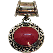Beautiful Sterling Silver Vintage Red Coral Inlay Pendant