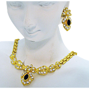 Vintage Golden Panther Link Rhinestone Black Glass Necklace Pierced Earrings Set