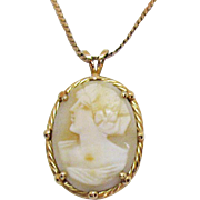 Signed 14K Italy *405 AR Angel Skin Coral Gold Cameo Pendant Necklace
