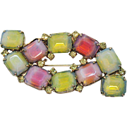 Unusual Signed Kramer of New York Vintage Cushion Cut Givre Opaque Glass Brooch