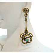 Awesome Vintage Golden Etruscan Dangle Pierced Earrings Faux Turquoise