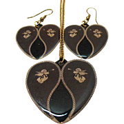 Unusual Vintage Laminated Heart Winged Angel Trumpet Playing Pendant Necklace Pierced Earrings Set