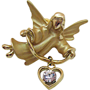 Signed Gigi Giusti Vintage Guardian Angel Clutch Pin Heart Charm Cubic Zirconia