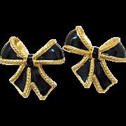 Signed Kenneth Jay Lane KJL for Avon Vintage Pierced Earrings Black Enameled Golden Bow