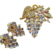 Exquisite Vintage Poly Chromatic Rivoli Rhinestone Tiered Brooch Pierced Earrings Set