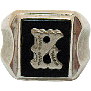 Rare Signed Park Lane Sterling Silver Vintage Initial K Men's Ring