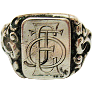 Antique Art Nouveau Estate Sterling Silver Signet Men's Initial Ring