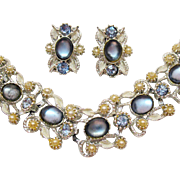 Silvery Rhodium Plated Vintage Blue Opaque Glass Rhinestone Bracelet Clip Earrings Set Faux Pearl Accents