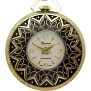 Signed Lucerne Vintage Wind Up Swiss Made Pendant Watch Necklace Black Enameling