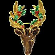 Rare Signed Art Vintage Enameled Christmas Figural Reindeer Brooch