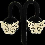 Beautiful Vintage Carved Bone Figural Butterfly Design Screw Back Earrings