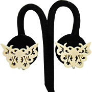 Beautiful Vintage Carved Bone Figural Butterfly Design Screw Back Earrings