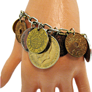 Fabulous Signed Coro 1940s Vintage 16 Old World Coin Charm Bracelet