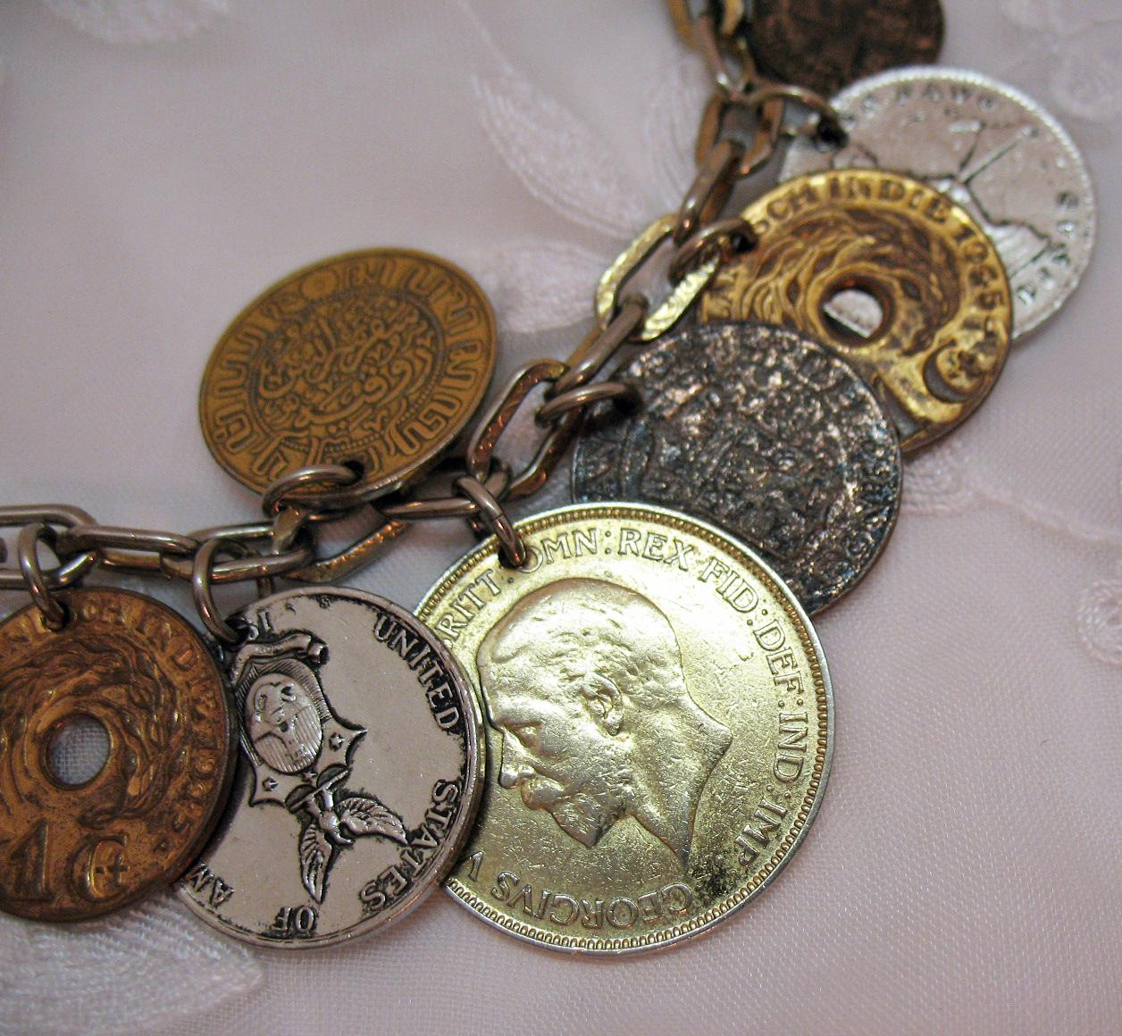 Fabulous Signed Coro 1940s Vintage 16 Old World Coin Charm