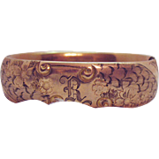 Antique Victorian Rose Gold Filled Signed PC Company Hinged Bangle Bracelet