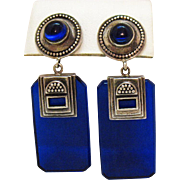 Unusual Vintage Cobalt Blue Ribbed Glass Sterling Silver 925 Pierced Earrings