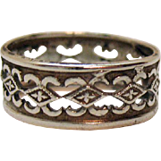 Antique Sterling Silver Half Moon Floral Pierced Band Ring