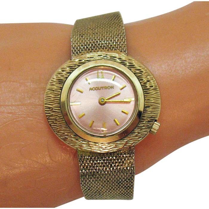 Rare Vintage Bulova Accutron Pink Face 10KT Gold Filled Wrist Watch Unisex