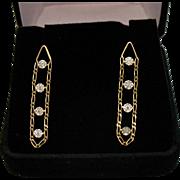 Stunning Vintage Signed ZZ 14K Figaro Chain Diamond Pierced Earrings
