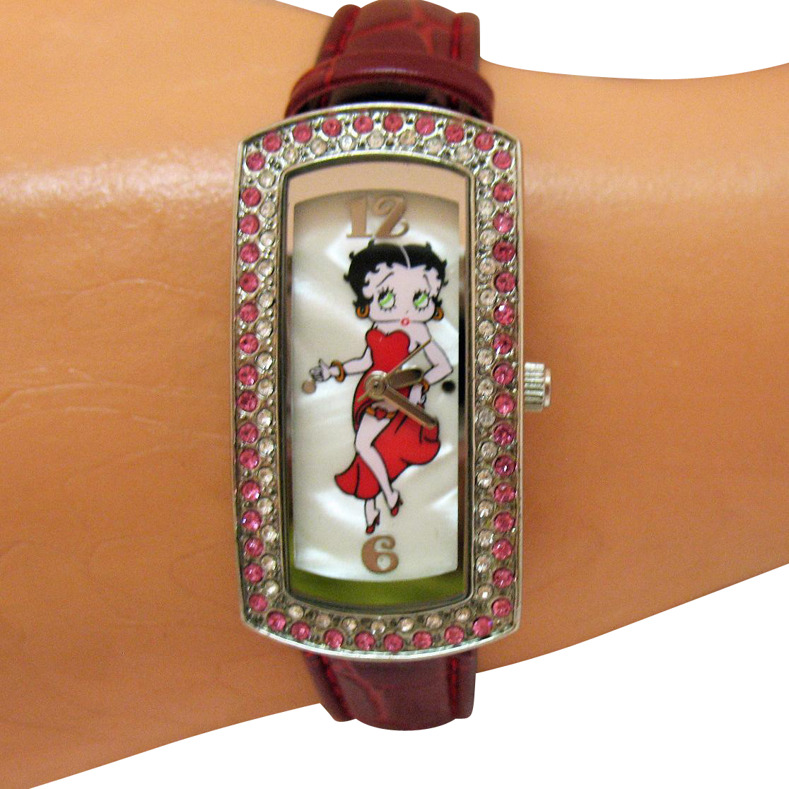 adorable vintage betty boop rhinestone tank wrist watch. Black Bedroom Furniture Sets. Home Design Ideas