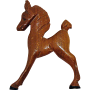 Large Vintage Hand Carved Figural Wood Pony Horse Brooch