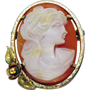 Hard to Find Vintage Signed Krementz 8K Gold Cameo Convertible Brooch Watch Fob