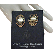 Vintage Sterling Silver Genuine Native American Indian Pierced Earrings Carded